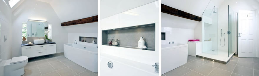 Photos of completed white bathroom by InStil Design