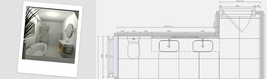 CAD image of family bathroom and master plan diagram