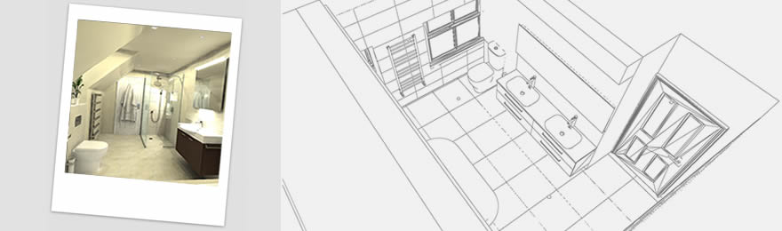 CAD image of white bathroom and master sketch diagram